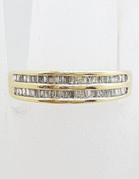 9ct Yellow Gold Channel Set 2 Row Diamond Band Ring / Wedding Band / Eternity Ring