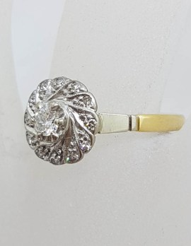 18ct Yellow Gold with Platinum Round Cluster Diamond Ring - Antique / Vintage - Engagement Ring / Dress Ring