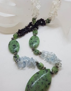 Ruby Zoisite and Bead Necklace