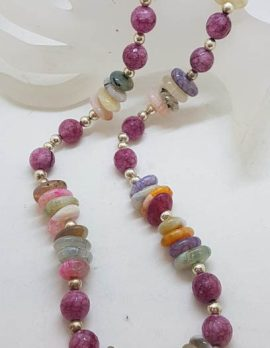 Long Multi-Coloured Natural Bead Necklace