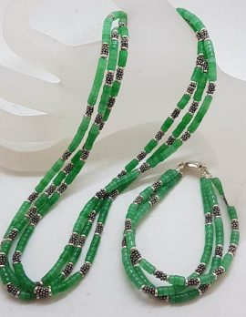 Sterling Silver and Green Jade Multi-Strand Bead Necklace with Matching Bracelet Set