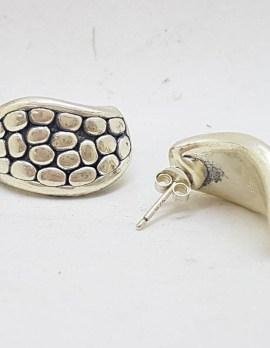Sterling Silver Pebble Design Large Stud Earrings