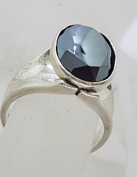 Sterling Silver Oval Iron Ore / Hematite High Set Ring - Vintage / Antique