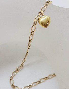 9ct Yellow Gold Anklet with Heart Charm