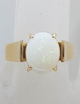 9ct Yellow Gold Solid White Opal Claw Set Ring - Antique / Vintage