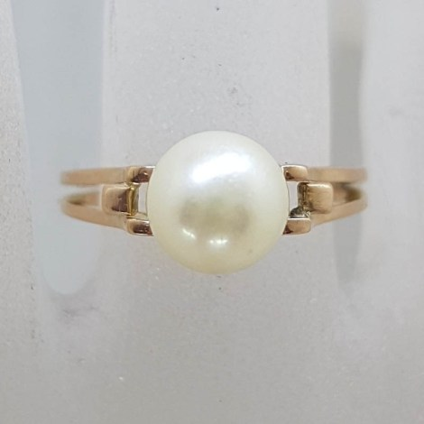 9ct Yellow Gold Natural Pearl Open Band Style Ring - Antique / Vintage