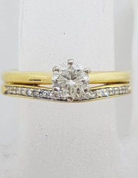 18ct Yellow Gold Pave Set and Claw Set Diamond Ring - Antique / Vintage