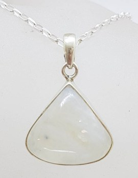 Sterling Silver Teardrop / Pear Shape Moonstone Pendant on Silver Chain