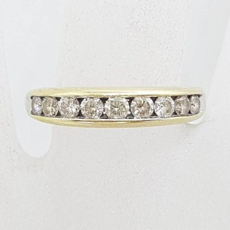 9ct Yellow Gold Channel Set 10 Diamond Eternity Ring / Wedding Ring