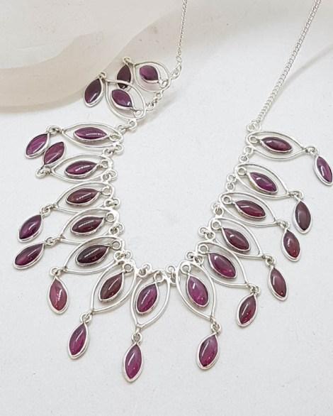 Sterling Silver Ornate Garnet Drop Collier Necklace