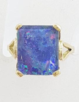 9ct Yellow Gold Large Rectangular Opal Triplet Ring - Antique / Vintage