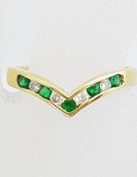 18ct Yellow Gold Emerald and Diamond Wishbone Ring