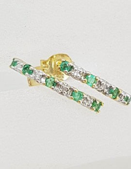 9ct Yellow Gold Natural Emerald and Diamond Half Hoop Earrings