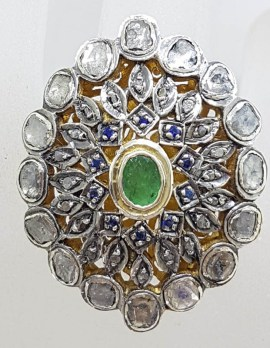 Sterling Silver Very Large and Exquisite Cluster Ring Set with Emerald, Blue Stones and Diamond