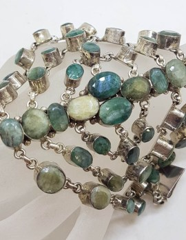 Sterling Silver Very Wide and Unusual Emerald Bracelet
