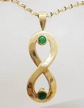 9ct Yellow Gold Natural Emerald Large Handmade Infinity Pendant on Gold Chain