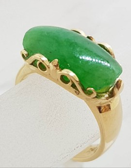 9ct Yellow Gold Beautiful Oblong Shaped Jade Ring with Ornate Sides – Antique / Vintage