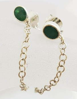 Sterling Silver Oval Emerald with Chain Link Earrings