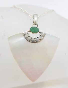Sterling Silver Natural Emerald and Mother of Pearl Triangular Pendant on Silver Chain
