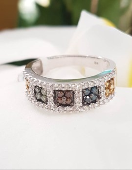9ct White Gold Multi-Colour Diamond Ring - Yellow, Blue, Green, Chocolate - Wide Band