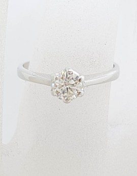 18ct White Gold High Claw Set Solitaire Diamond Ring - Antique / Vintage - Engagement Ring
