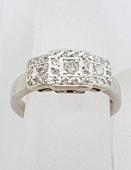 18ct White Gold Handmade Diamond Art Deco Style Square Clusters Ring - Engagement Ring / Dress Ring