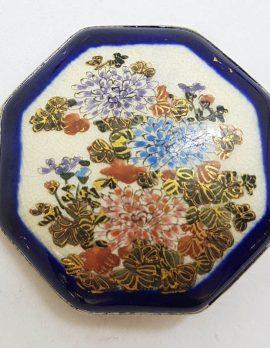 Antique Japanese Satsuma Brooch - Octagonal - Floral Chrysanthemum Scenery