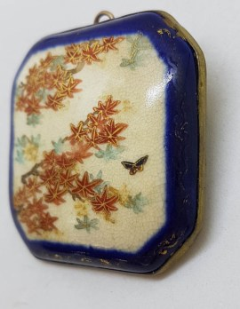 Antique Japanese Satsuma Brooch - Square / Octagonal - Floral and Butterfly Scenery
