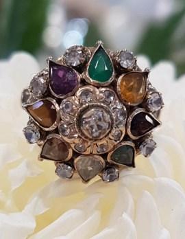 14ct Yellow Gold Large Multi-Coloured Gem Princess Cluster Ring - Antique / Vintage