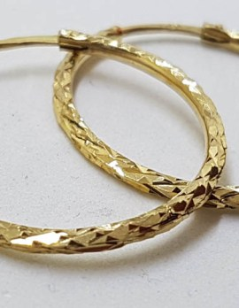 18ct Yellow Gold Snake Patterned Large Hoop Earrings