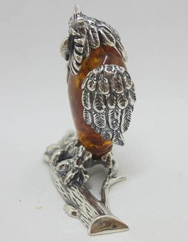 Owl on Branch – Solid Sterling Silver Natural Baltic Amber Animal Figurine / Statue / Sculpture