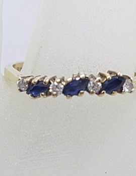 9ct Yellow Gold 3 Marquis Sapphires with 4 Diamonds Eternity Ring