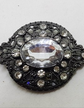 Plated Rhinestone Cluster Brooch – Vintage Costume Jewellery