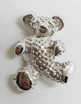 Plated Teddy Bear Brooch – Vintage Costume Jewellery