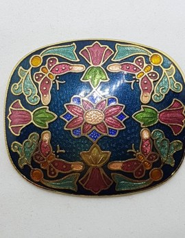 Plated Cloisonne Enamel Large Floral Brooch – Vintage Costume Jewellery