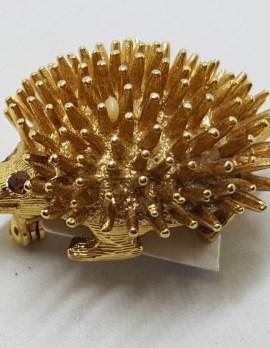Plated Hedgehog Brooch – Vintage Costume Jewellery