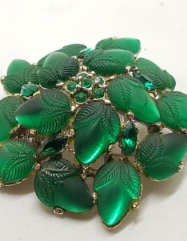 Very Large Plated Green Leaf Cluster Brooch - Vintage Costume Jewellery