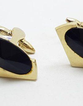 Plated Black Unusual Shape Cufflinks – Vintage Costume Jewellery
