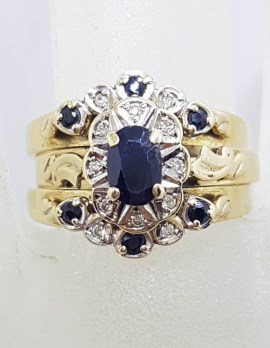 9ct Yellow Gold Oval Natural Sapphire 7 Diamond Cluster - Set of Three Rings - Engagement Ring / Wedding Ring / Eternity Ring - Dress Ring