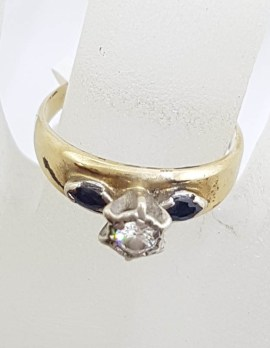 18ct Yellow Gold Round Diamond with 2 Marquis Shape Natural Sapphires Engagement / Dress Ring - Antique / Vintage