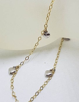 9ct Yellow Gold with Yellow Gold Heart Charms Anklet