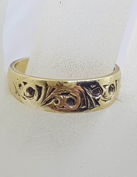 9ct Yellow Gold Patterned Band Ring - Wedding Band - Vintage