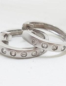 9ct White Gold Cubic Zirconia Huggie Hoop Earrings