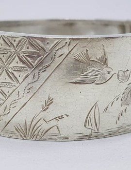 Sterling Silver Wide Floral and Bird Design Antique Bangle - Hinged - Antique / Vintage