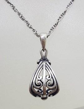 Sterling Silver Ornate Floral Design Drop Pendant on Silver Chain - Vintage