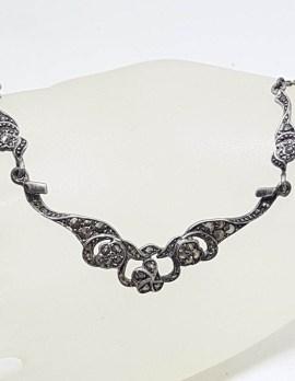 Sterling Silver Ornate Design Marcasite Collier Necklace / Chain - Antique / Vintage