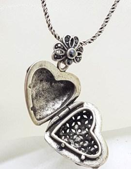 Sterling Silver Ornate Heart Locket Pendant on Silver Chain – Vintage