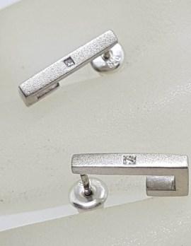 Sterling Silver with Diamond Half Hoop Huggie Style Stud Earrings