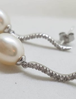 9ct White Gold with Pearl and Diamond Curved Long Drop Earrings