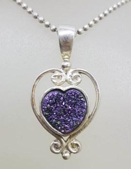 Sterling Silver Blue Druzy Heart Pendant on Silver Chain